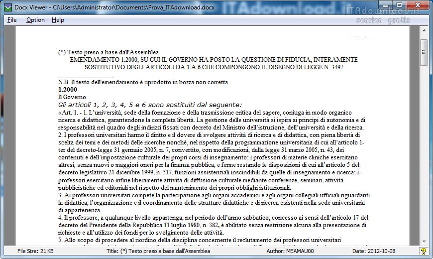 SCARICA PROGRAMMA DOCX